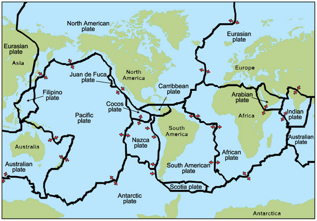 World Map With Tectonic Plate Overlay Grade At Al Siraat - Plate tectonics map